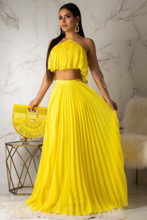 Yellow Polyester Sexy Fashion backless Bandage Two Piece Suits crop top asymmetrical Solid Draped Loose Sleeveless  Two-Piece Dress DL591187