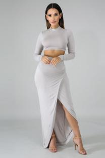 Grey Polyester Fashion Sexy Solid Two Piece Suits asymmetrical Slim fit crop top Split Skinny Long Sleeve  Two-Piece Dress TY201162