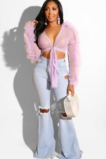 Light Purple Polyester V Neck Long Sleeve Solid perspective Bandage Draped Slim fit crop top asymmetrical HOLLOWED OUT Mesh  Long Sleeve Tops SY321201