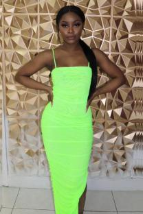 Fluorescent green Polyester Sexy Fashion Spaghetti Strap Sleeveless Slip Slim Dress Ankle-Length asymmetrical Draped Solid split  Club Dresses TY201160