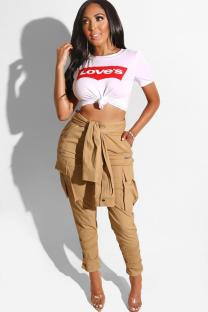 Brown Polyester Button Fly High Asymmetrical Solid bandage Pocket pencil Pants  Pants MD621200