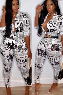 White Polyester Fashion Sexy Print Geometric Two Piece Suits Slim fit Letter asymmetrical Skinny Half Sleeve  Two-piece Pants Set ALS871180