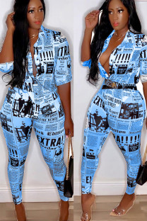 Blue Polyester Fashion Sexy Print Geometric Two Piece Suits Slim fit Letter asymmetrical Skinny Half Sleeve  Two-piece Pants Set ALS871180