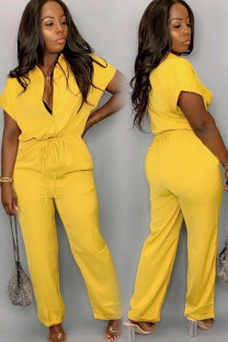 Yellow Fashion Sexy Solid zipper Patchwork Button Polyester Short Sleeve Turndown Collar  Jumpsuits CY771231