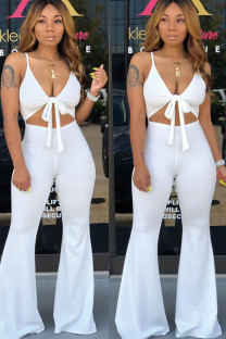 White Polyester Sexy Fashion Patchwork Solid Boot Cut Sleeveless  Two-piece Pants Set CY771234