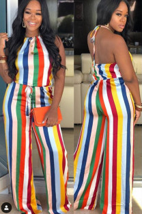 Multi-color Casual Fashion bandage Asymmetrical Backless Striped Polyester Sleeveless Asymmetrical Collar  Jumpsuits VM94148
