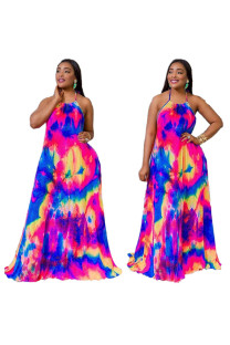 multicolor Polyester Fashion Sexy Off The Shoulder Sleeveless Halter Neck Floor-Length Print  Print Dresses LZ121205