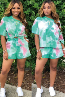 Green Polyester Sexy Fashion Tie Dye Print Patchwork Straight Short Sleeve  Two-Piece Short Set MT741216