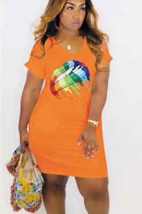 Orange Polyester Sexy Fashion Cap Sleeve Short Sleeves V Neck Knee-Length Patchwork Print  Print Dresses MT741218
