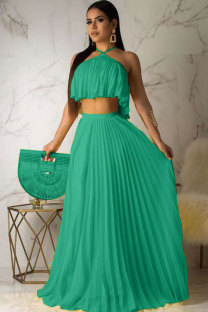 Green Polyester Casual Sexy Fashion Draped Bandage crop top Two Piece Suits Solid asymmetrical Straight Sleeveless  OD631202