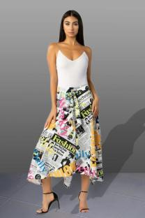 White Polyester Elastic Fly High Draped Asymmetrical Letter bandage Print Pleated skirt Capris  Skirts JS91174