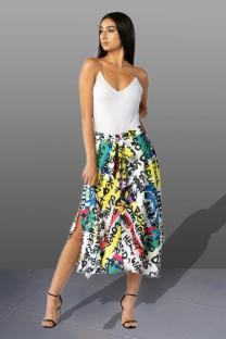 Multi-color Polyester Elastic Fly High Draped Asymmetrical Letter bandage Print Pleated skirt Capris  Skirts JS91174