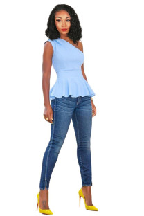 Light Blue Polyester One Shoulder Collar Sleeveless asymmetrical Solid Draped Slim fit  Vests & Waistcoats QY841191