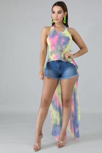 Multi-color Polyester Asymmetrical Collar Sleeveless Tie Dye Slim fit asymmetrical  Vests & Waistcoats JS91175
