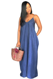 Dark Blue The cowboy Casual Fashion Spaghetti Strap Sleeveless Slip V Neck A-Line Floor-Length Solid  Casual Dresses SMR391305