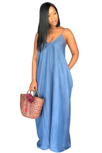 Blue The cowboy Casual Fashion Spaghetti Strap Sleeveless Slip V Neck A-Line Floor-Length Solid  Casual Dresses SMR391305