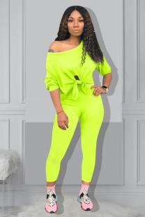Fluorescent green Polyester Casual Fashion Slim fit asymmetrical Solid Two Piece Suits Regular Long Sleeve  Two-piece Pants Set QM311314