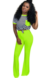 Fluorescent green Polyester Sexy Striped Boot Cut Short Sleeve  Two-piece Pants Set QM311315