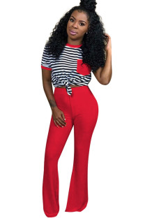Red Polyester Sexy Striped Boot Cut Short Sleeve  Two-piece Pants Set QM311315