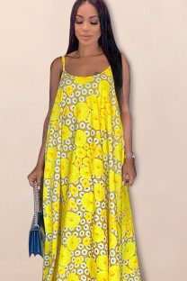 Yellow Polyester Fashion Spaghetti Strap Sleeveless Square Beach Floor-Length Print  Print Dresses YF102034