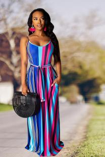 Blue Polyester Fashion Sexy Spaghetti Strap Sleeveless Slip Straight Floor-Length bandage Striped asymmetrical  Print Dresses TR671224