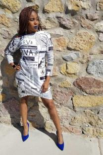 White Polyester Fashion Cap Sleeve Long Sleeves O neck Step Skirt skirt Print  Print Dresses DZ1201