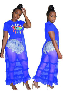 Blue Polyester O Neck Short Sleeve Solid Eyes Printed perspective Patchwork Draped asymmetrical  Tees & T-shirts MZ661210