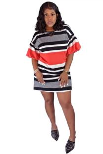 Red Polyester Sexy Bubble sleeves Short Sleeves O neck A-Line Mini Striped  Club Dresses FN231247