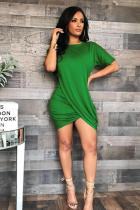 Green Polyester adult Sexy Fashion Casual Short Sleeves O neck Pleated Mini Draped asymmetrical Solid  Club Dresses MF601189