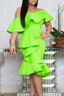 Light Green Polyester Sexy Fashion adult Off The Shoulder Sleeveless One word collar Step Skirt Knee-Length asymmetrical Solid ruffle  Casual Dresses MM92168