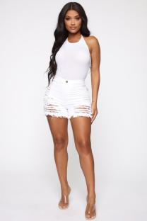White Polyester Button Fly High Asymmetrical Solid Hole Regular shorts  Shorts MD621206