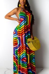 Multi-color Polyester Sexy Fashion Off The Shoulder Sleeveless Halter Neck Step Skirt Floor-Length asymmetrical backless Argyle Rainbow  Bohemian Dresses ALS871182