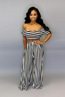Stripe Polyester Sexy Print Loose Short Sleeve  Two-piece Pants Set SN471279
