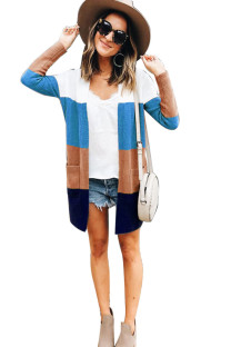 Blue Coffee knitting cardigan Long Sleeve Striped  Sweaters & Cardigans DZ1203