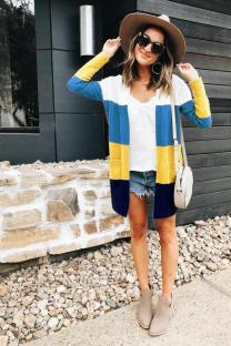 Yellow and blue knitting cardigan Long Sleeve Striped  Sweaters & Cardigans DZ1203