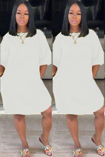 White Polyester adult Sexy Fashion Cap Sleeve Half Sleeves O neck Straight Knee-Length Solid Patchwork Casual Dresses CQ711212