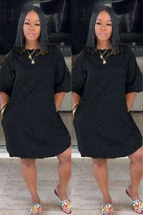 Black Polyester adult Sexy Fashion Cap Sleeve Half Sleeves O neck Straight Knee-Length Solid Patchwork Casual Dresses CQ711212