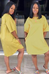 Yellow Polyester adult Sexy Fashion Cap Sleeve Half Sleeves O neck Straight Knee-Length Solid Patchwork Casual Dresses CQ711212