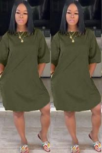 Army Green Polyester adult Sexy Fashion Cap Sleeve Half Sleeves O neck Straight Knee-Length Solid Patchwork Casual Dresses CQ711212