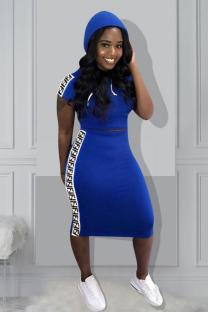 Blue Polyester adult Celebrities Fashion Solid Two Piece Suits A-line skirt Short Sleeve Two-Piece Dress MM92172