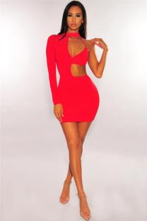 Red Polyester adult Sexy Fashion Cap Sleeve Long Sleeves O neck A-Line Mini backless Patchwork hollow out asymmetrical Club Dresses LR2610175