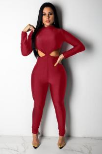 Wine Red Sexy Solid Polyester Long Sleeve O Neck Jumpsuits LR2610177