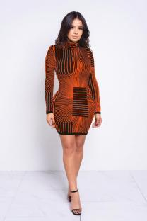 Orange Polyester Sexy Cap Sleeve Long Sleeves O neck A-Line Knee-Length Print Print Dresses LR2610174