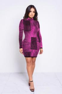 purple Polyester Sexy Cap Sleeve Long Sleeves O neck A-Line Knee-Length Print Print Dresses LR2610174