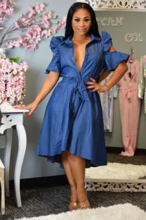 Hide Blue Polyester The cowboy Street Fashion adult Ruffled Sleeve Half Sleeves Half-Open collar A-Line Knee-Length Bowknot hollow out ruffle stringy selvedge asymmetrical Casual Dresses QY841204