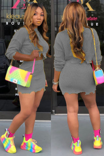Grey Wool Cotton Fashion adult Street Solid Embroidery Two Piece Suits A-line skirt Long Sleeve Two-Piece Dress DZ1207