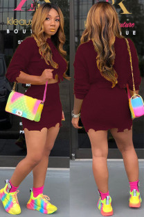 Maroon Wool Cotton Fashion adult Street Solid Embroidery Two Piece Suits A-line skirt Long Sleeve Two-Piece Dress DZ1207