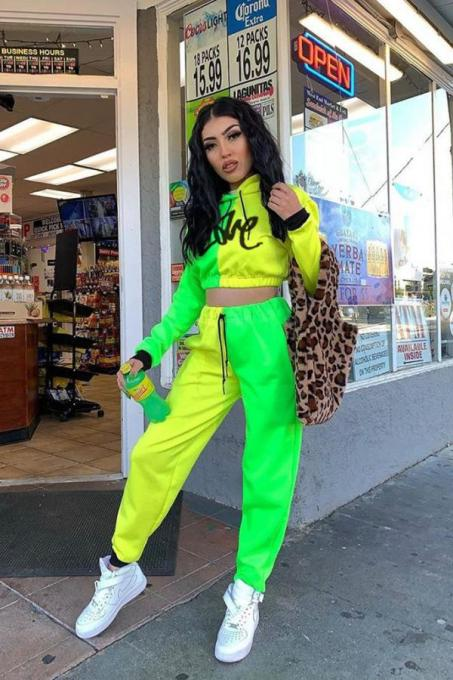 Green and yellow Polyester Casual Fluorescent Patchwork Letter pencil Long Sleeve Two-piece Pants Set ML105054