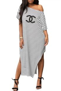 Stripe Polyester adult England Fashion Cap Sleeve Short Sleeves O neck Straight Mid-Calf Print Letter Striped split Casual Dresses YL69017