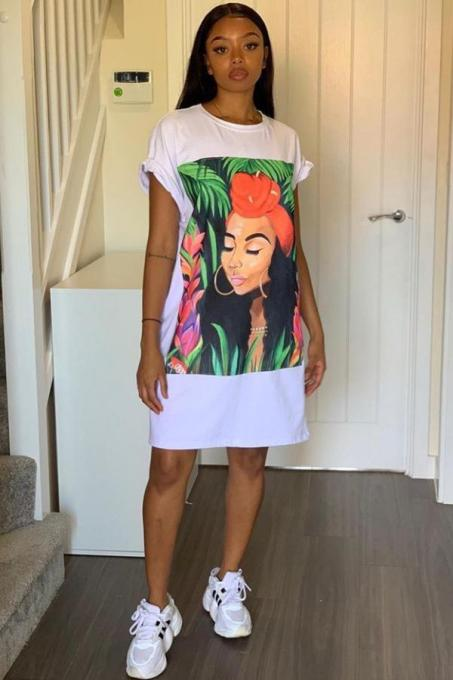 White Cotton Casual Bat sleeve Short Sleeves O neck Step Skirt Knee-Length Print head portrait Print Dresses TR671230